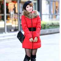 The new woman jacket long fur collar cotton jackets long women's cotton-padded jacket ,free shipping