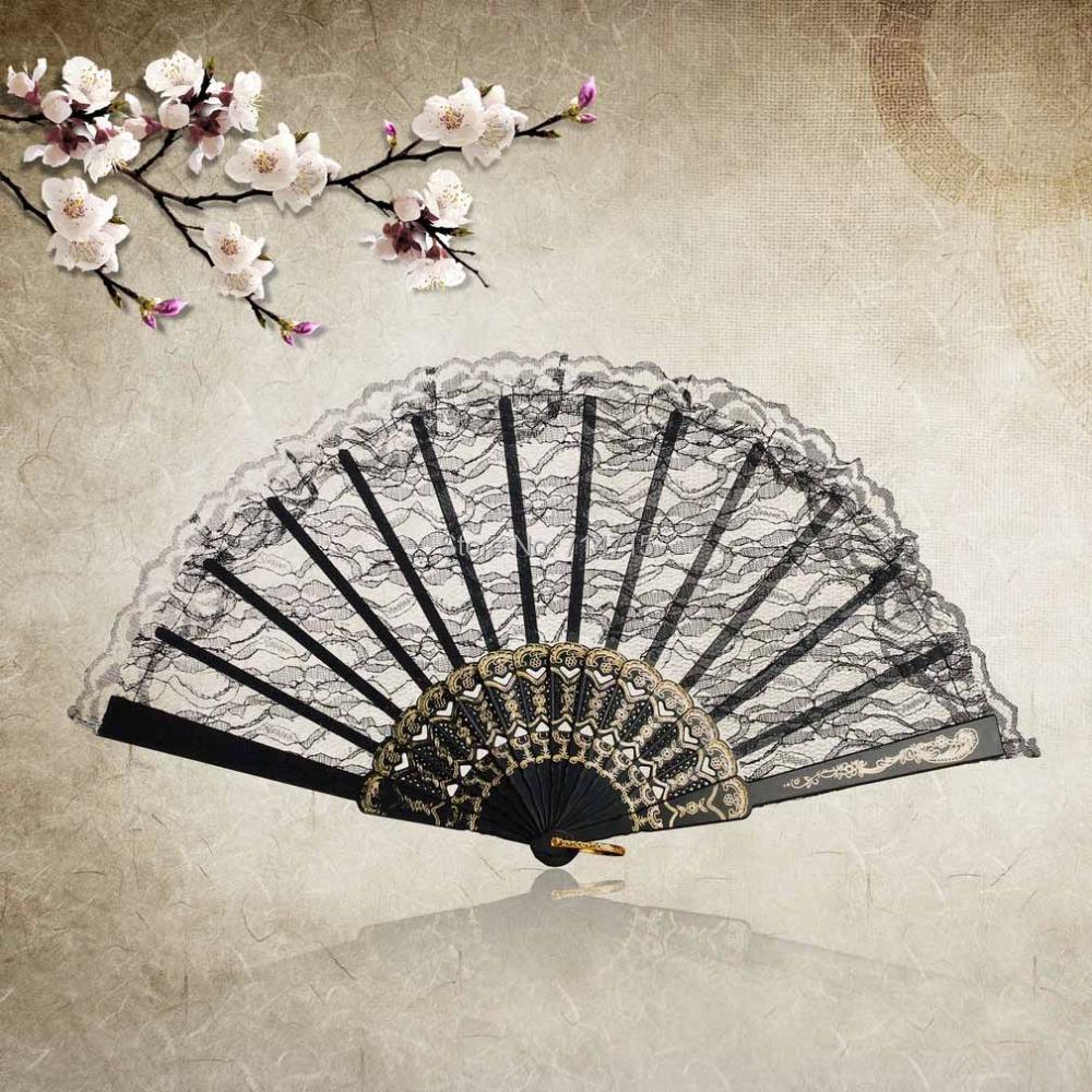 1pcs Chinese Vintage Fancy Dress Costume Party Wedding Dancing Folding Lace Hand Fan(China (Mainland))