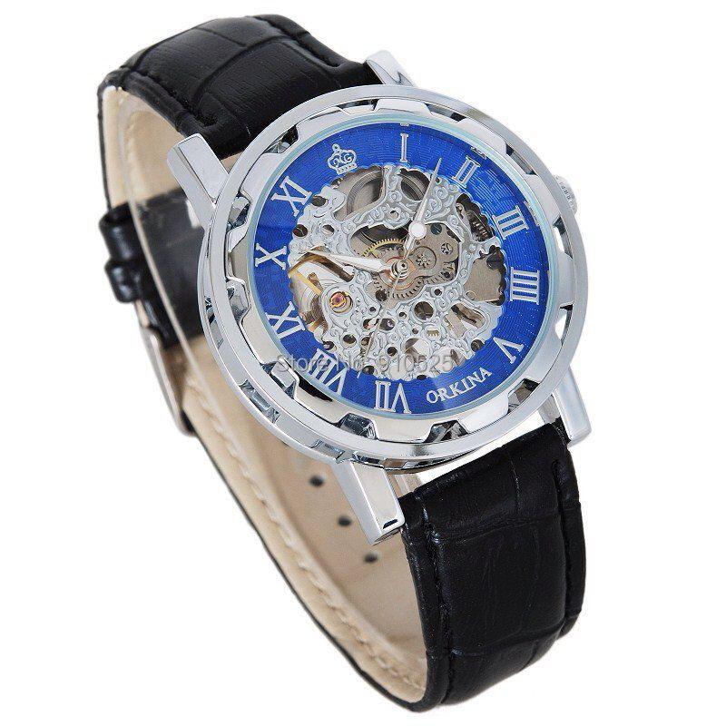 Orkina Mens Blue &amp; Silver Case Skeleton Dial Hand Wind Mechanical Black Leather Strap Wrist Watch | ORK0151<br><br>Aliexpress