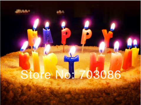 {min order is $10} birthday party candle,happy birthday letter candle(China (Mainland))