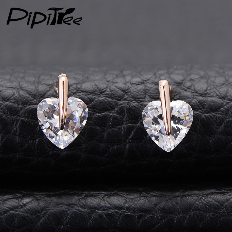 2016 New Exquisite Heart Shape Sparkling CZ Diamond Stud Earrings for Women Girls 18K Rose Gold Plated Small Earrings Jewelry(China (Mainland))