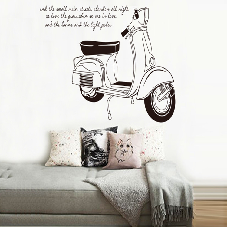 black and white motorcycle Home Furnishing decorative bedroom corridor wall stickers products wholesale background(China (Mainland))