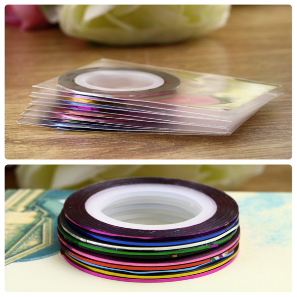 10Color /bag 20m Rolls Nail Art UV Gel Tips Striping Tape Line Sticker DIY Decoration Newest(China (Mainland))