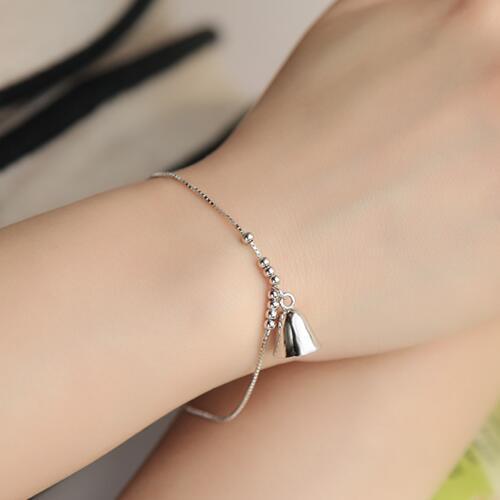 Danki Cute Bell Christmas Bracelet Female Jewellery Accessory Solid 925 Sterling Silver Chain Link Bracelet Lovely Bell Bracelet(China (Mainland))