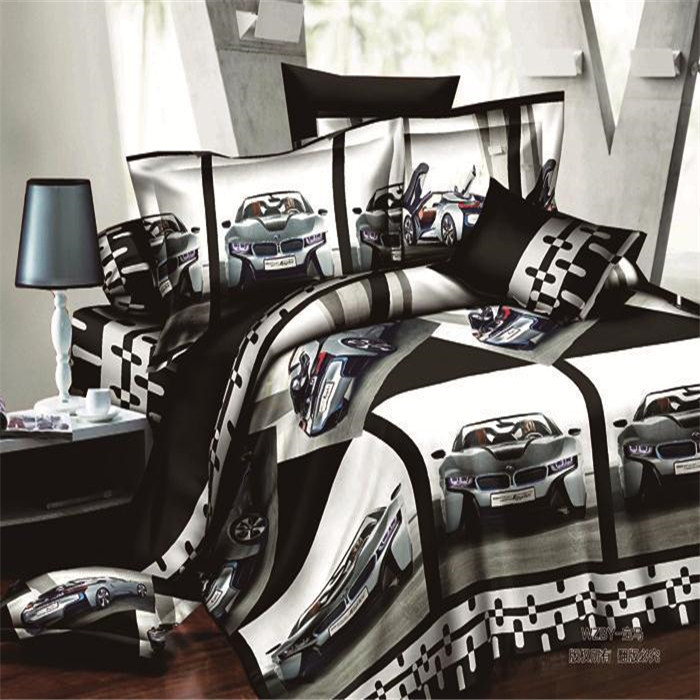 2015new very popular world cars queen size 3d bedding set for Drap housse cars