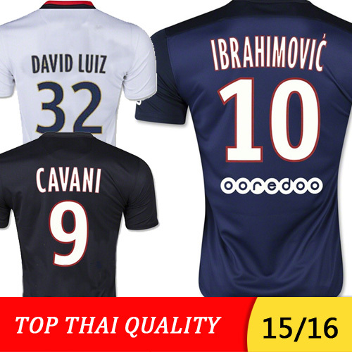 Maillot IBRAHIMOVIC 2016 CAVANI Soccer Jersey 15 16 SILVA DAVID LUIZ LUCAS VERRATTI Football Shirt home away 3rd blue white(China (Mainland))