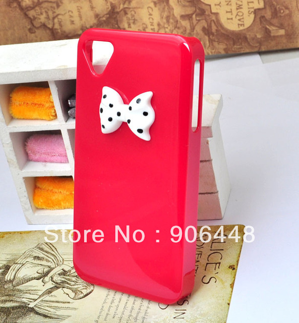 DIY Handmade Cell Phone Case for iphone 4 4s with Triangle Camera Hole and Little Bow Eight Colors for Option 1PCS