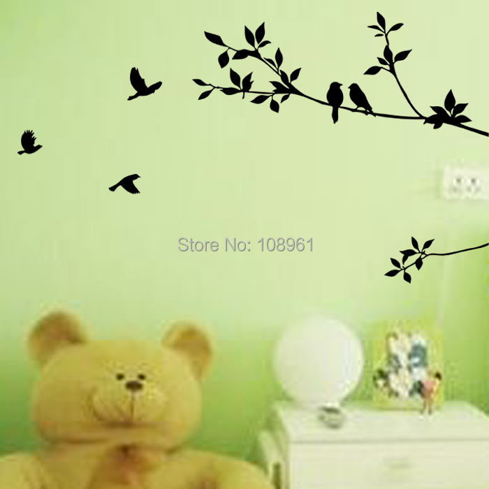 Flying Birds Loving Birds In the Branch Wall Decals Sticker Nursery Decor Art Mural Black Color(China (Mainland))