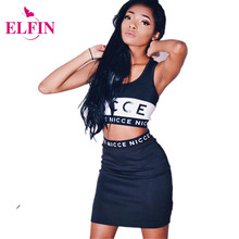 Summer 2016 Women Shirt Print Letter Sleeveless O neck Tank Tops & Skirt Twinset 2piece Sport Set For Women Cheap ClothesLJ3624S