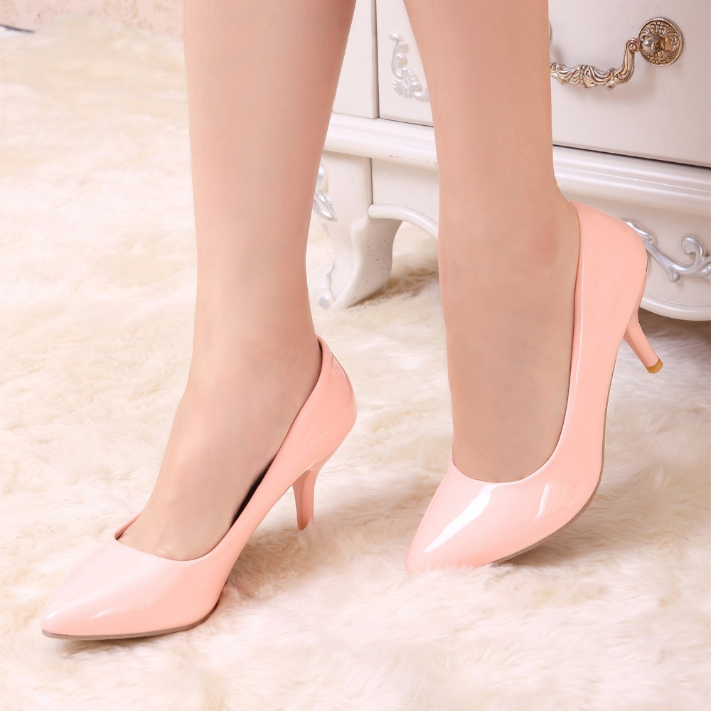 Fashion Sweet Princess 7 Candy colors patent leather High Heel Stiletto Ladies Casual Pumps Pointed Toe Women Shoes Size US 4-12