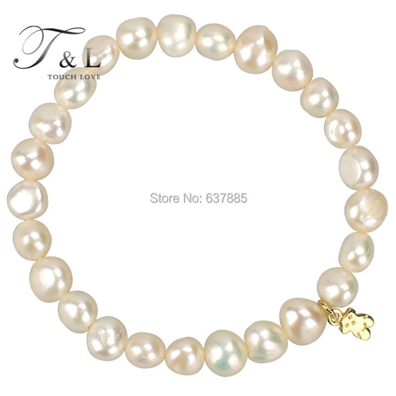 Free shipping. Real pearl with 925 silver hanging bear women and girls strand bracelet. Cheaper wholesale bracelet.(China (Mainland))