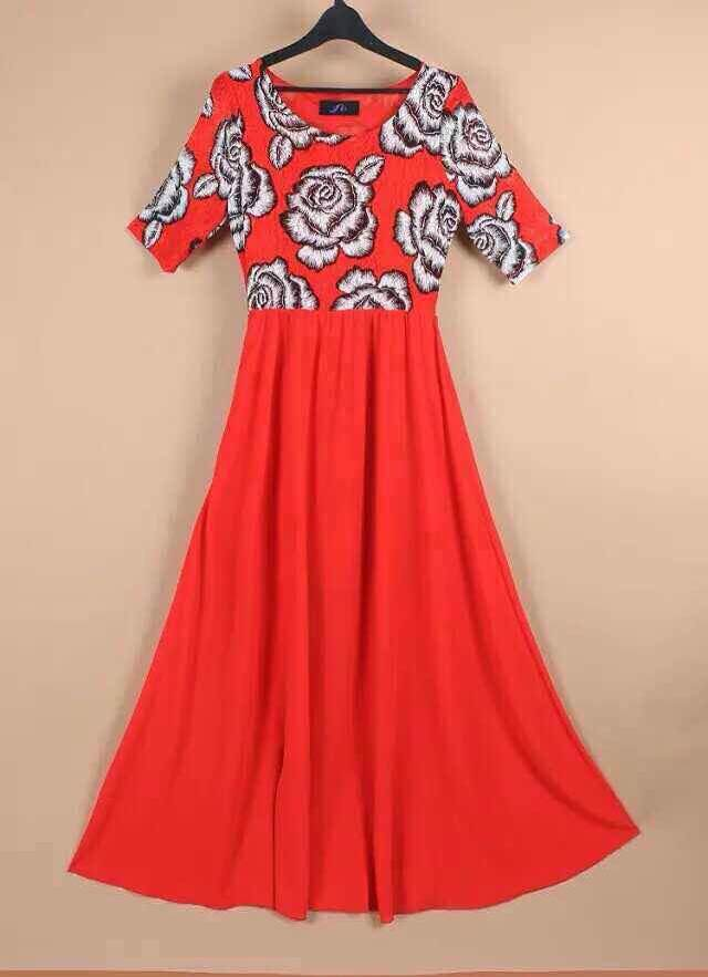 Spring, summer, new Red stitching chiffon dress lace printing factory couture dresses - Sunshine is fine store