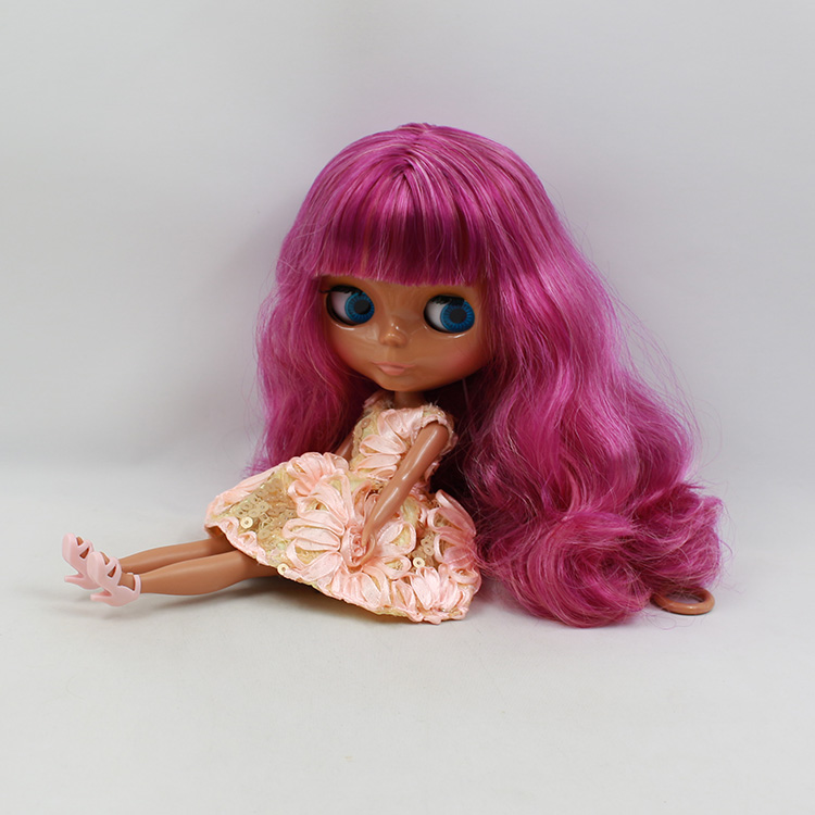 Nude Blyth doll DIY makeup 30cm fashion blyth doll with wine long hair(China (Mainland))