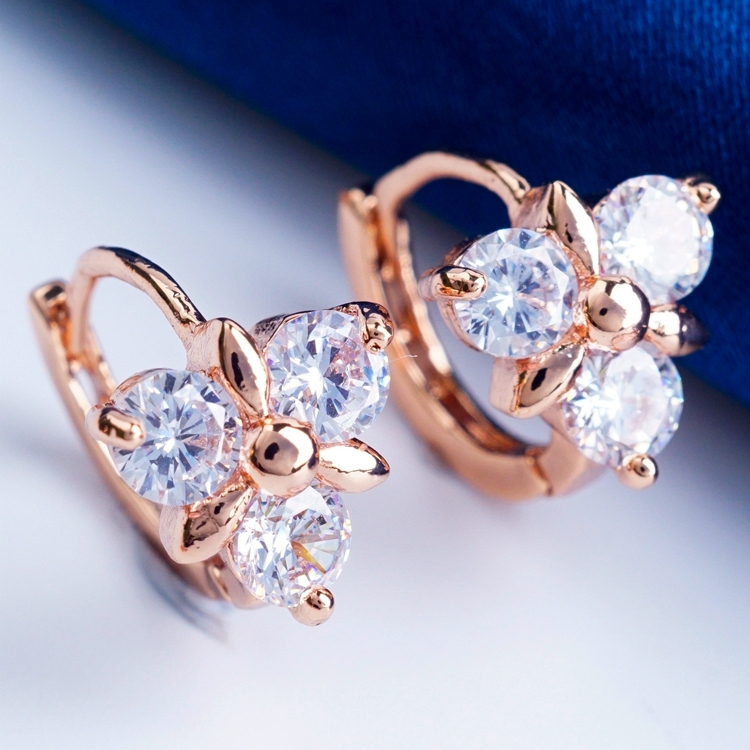 Purple clear CZ diamond crystal 18 k rose gold plated filled fashion show hoops classic ear ring 3 colors(China (Mainland))