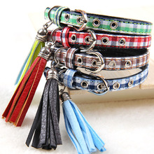 1PC Fashion Plaid Dog Collar Grid Collar Pet Dogs Cats Necklace For Small dogs with Tassels Pendant