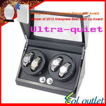 superior quality ultra-quiet motor watch winder  for automatic mechanical watch black color capacity for 4 watch