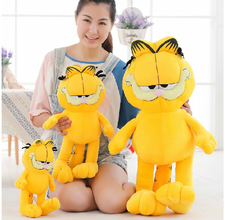 Different height High Quality  yellow and lovely Garfield toy plush doll as a gift for boys and girls free shipping(China (Mainland))