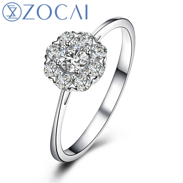 "ZOCAI ""1.5 CARAT EFFECT"" PURE LOVE 0.25 CT CERTIFIED H / SI / VG  DIAMOND RING ROUND CUT 18K WHITE GOLD FREE SHIPPING W03003"