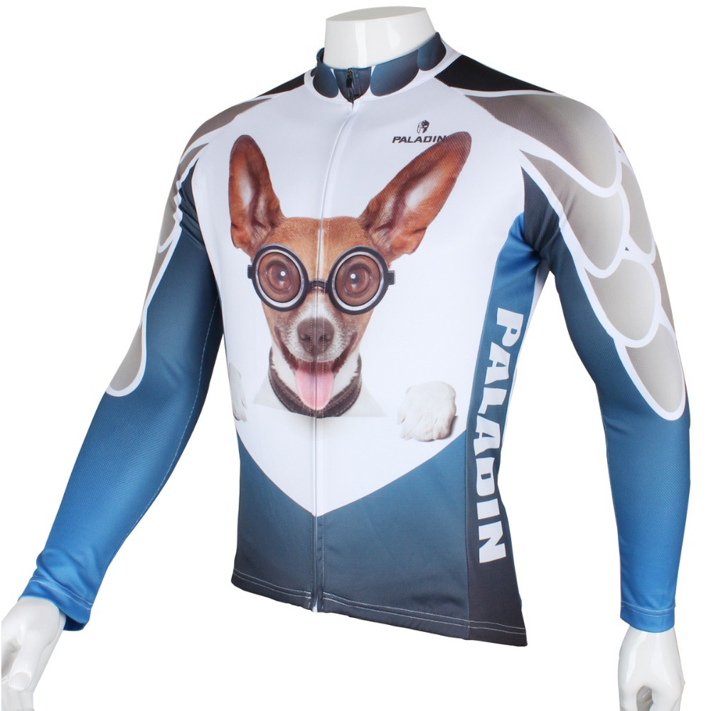 2016 new men's cartoon dog cycling jersey cute dog cycling shirt boy's bicycle clothing cycle wear riding clothes(China (Mainland))