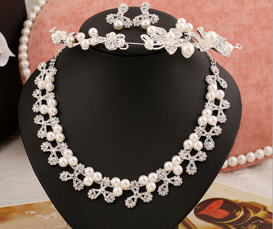 2016 Elegant bridal tiara necklace earrings sets pearl silver plated vintage wedding jewelry sets wholesale price(China (Mainland))