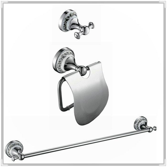 three holes bathroom hardware set Solid Brass Chrome ,Robe hook,Paper Holder,Single Towel Bar 3 pcs DB000 torneira eletrica banh(China (Mainland))