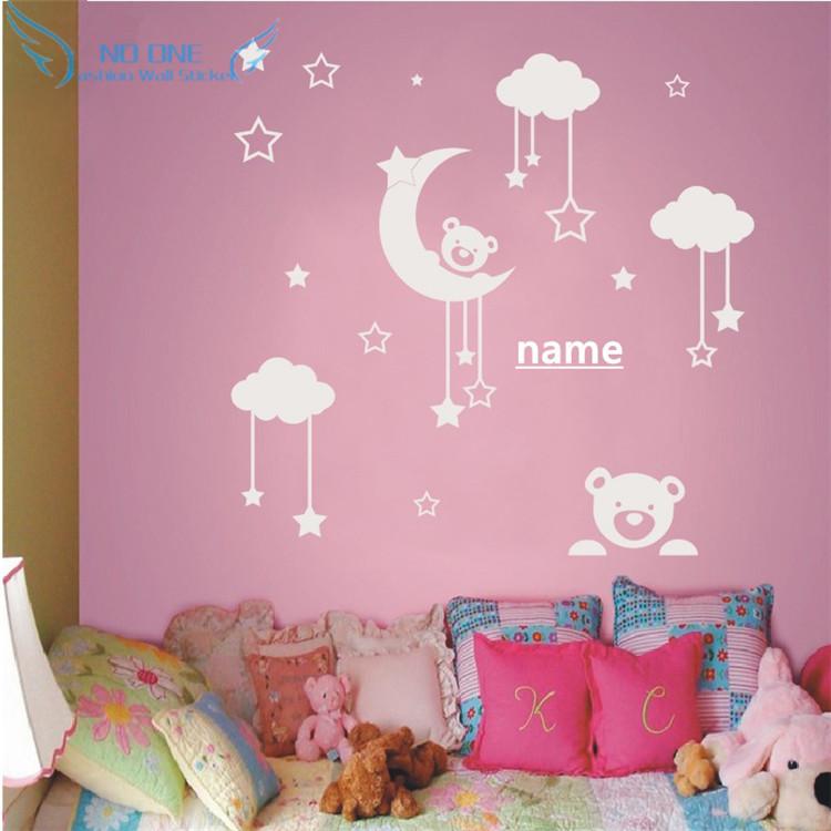Personalized name Cute Teddy Bear, Moon, Stars Wall Sticker Baby Bedroom Wall Art Decor 3D Vinyl Decal Teddy Bear Baby Sleeping(China (Mainland))