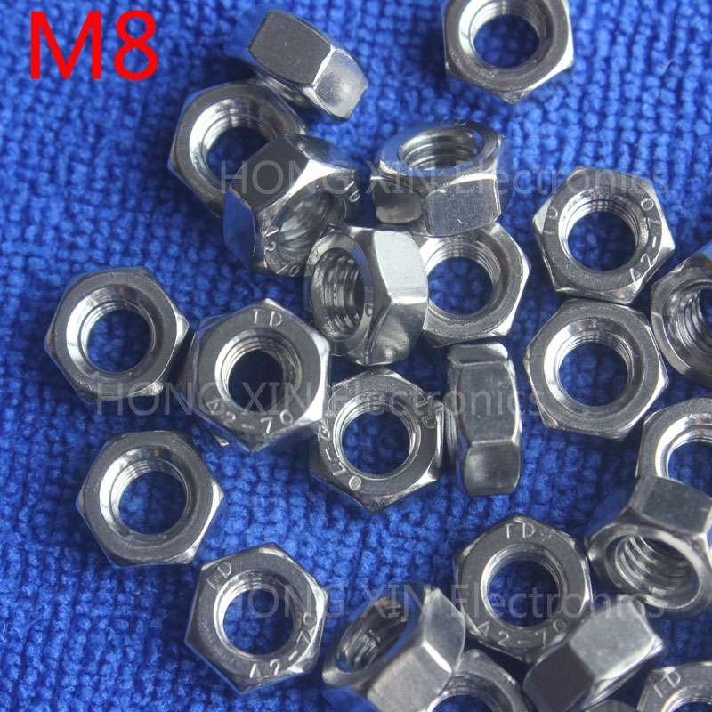 M8 1pcs 304 stainless steel hex nuts 8mm Silvery hexagon nut A2-70 nuts against rusting No rust durable General accessories(China (Mainland))