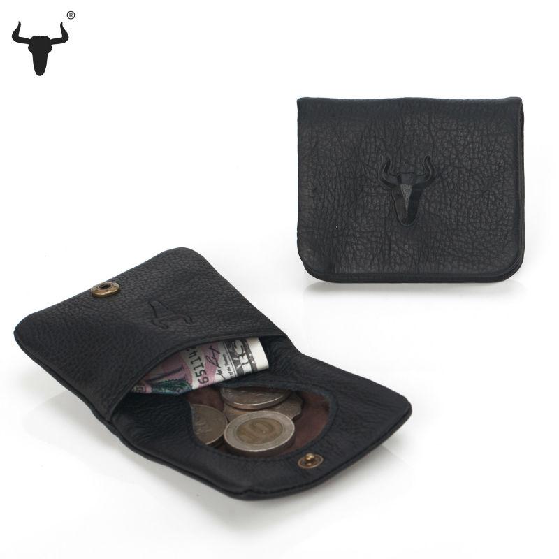 High Quality Men Genuine Leather Mini Coin Purse Women Small Coin Bags Slim Wallet Creative Designer Black Cowhide Storage Bag