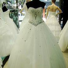 2016 High Quality Luxury Crystal White Wedding Dress Vestido Vestidos de Novia Sirena Plus Size Wedding Ball Gowns Free Shipping(China (Mainland))