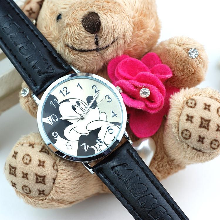 Hot sale 2015 Lovely Cartoon Mickey Watch Children Watches imitation PU leather Unisex quartz watch Student Gift Wristwatch(China (Mainland))