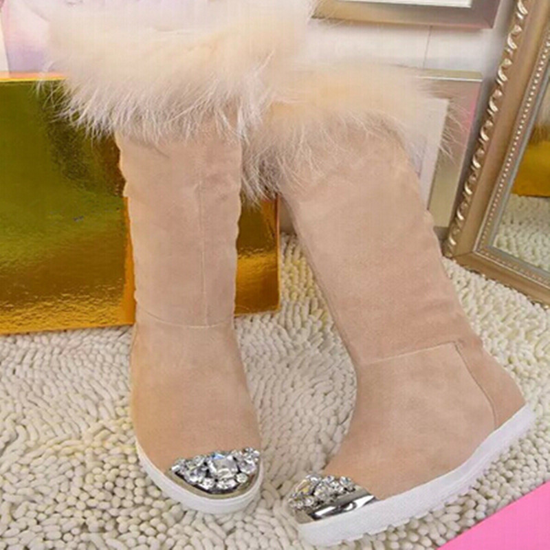 Snow Boots Genuine Leather Knee High Boots Suede Winter Boots Shoes Woman Warm Women Boots Bling Rhinestone Round Toe