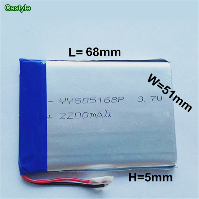 3.7V 2200 mAh Polymer rechargeable Lithium Li ion Battery For GPS ipod PSP Tablet PC Mobiles Backup Power 505168 free shipping(China (Mainland))
