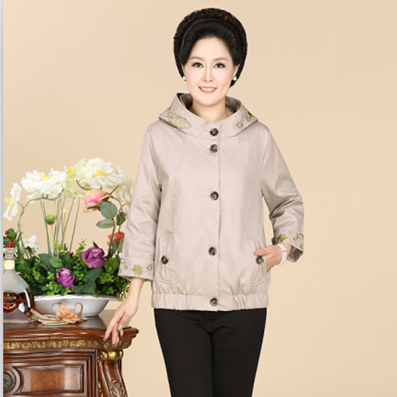New Middle-Aged And Old Women Coat Embroidered Fashion High Quality Leisure Jacket Mother Spring Autumn Plus Size Outerwear(China (Mainland))