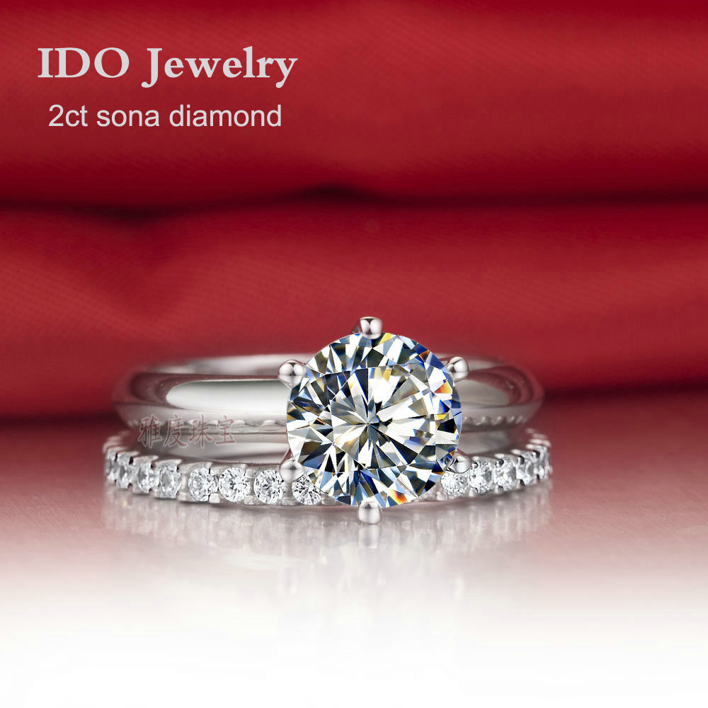wholesale 2ct synthetic diamond wedding ring set for women bridal set