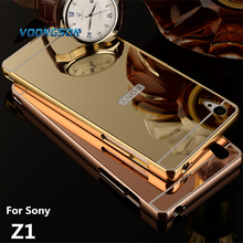 Buy VOONGSON Case Sony Xperia Z1 L39h Cases Bumper Golden plating Aluminum Frame + Mirror Acrylic Back Cover Z1Case L39h SonyZ1 for $3.32 in AliExpress store