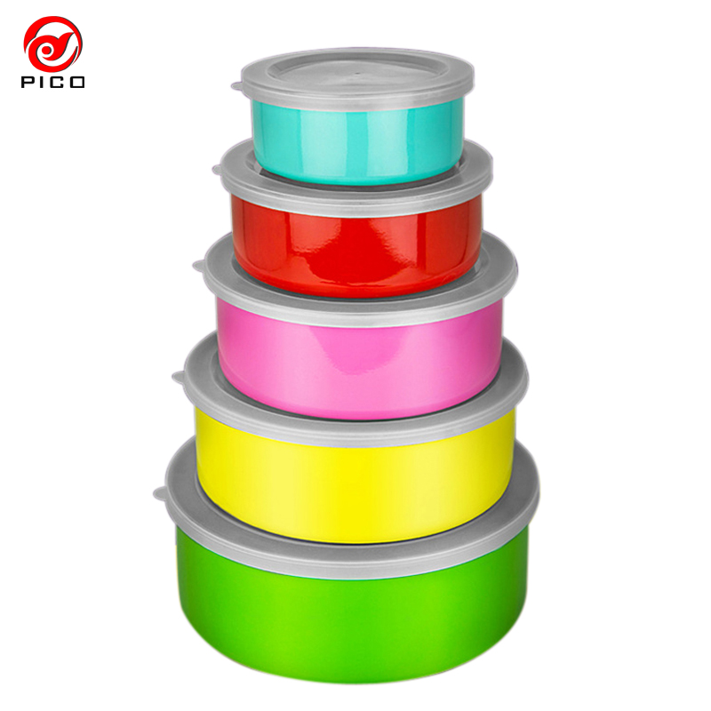 5 Pcs/Lot high quality Stainless steel Bowls Set Food Container Tableware Set colorful Kids Baby Bowls BPA Free Feeding ZL191(China (Mainland))