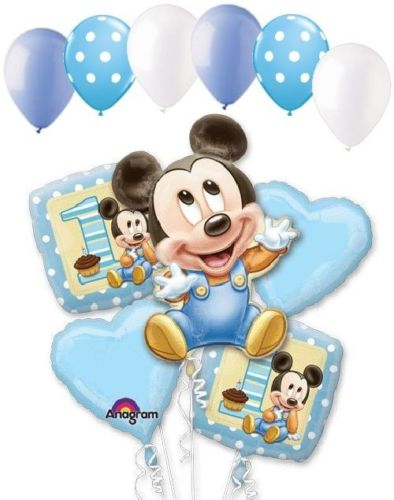 11 pc sboy kids 1st birthday party decoration kits blue Baby Mickey Mouse Happy Birthday Balloon Bouquet