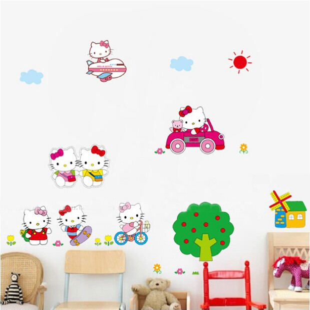 Free Shipping Cute Cartoon Peel Scroll Sticker 1set=7pcs Hello Kitty Mural Wall Wallpaper for Kids Room Decal Mixable AY619(China (Mainland))