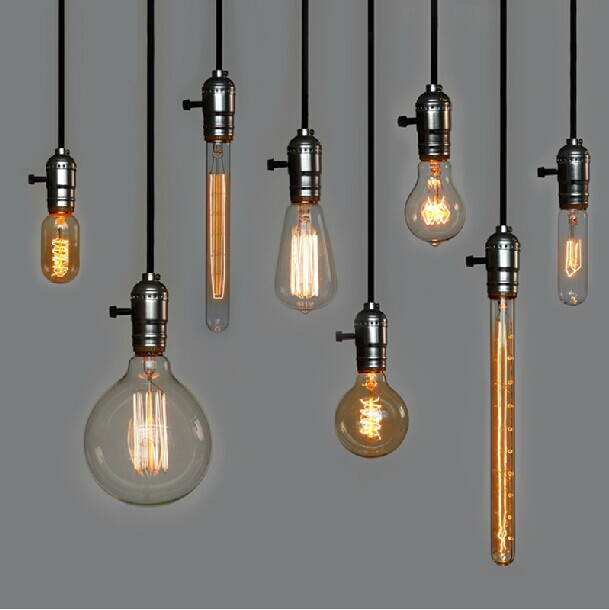 Edison bulb squirrel cage filament old fashioned lamp for Hanging light bulbs diy