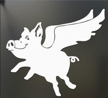 When pigs fly sticker JDM Funny laughing drift car window decal(China (Mainland))