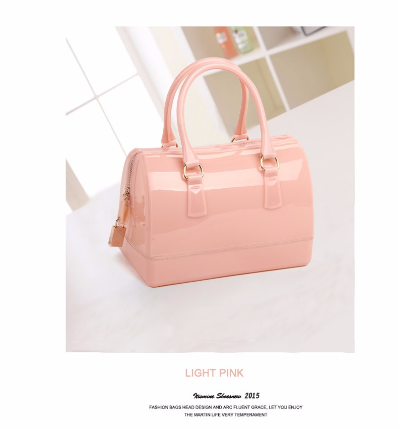 Designer Candy Color Handbag Lock Ornament  Women Cute Pillow-shaped Hand Bag Ladies Fashion Trendy PVC Large Shoulder Bag