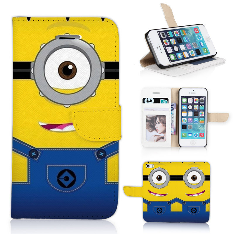 Hot Despicable Me Lovely Minions BTD Leather Holster Printing Case Cute Flip Cover Skinfor iphone 5 5s P031-5G With Card Slots(China (Mainland))
