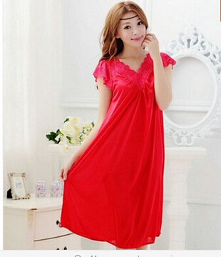 Free shipping women red lace sexy nightdress girls plus size Large size Sleepwear nightgown night dress skirt Y02-4(China (Mainland))