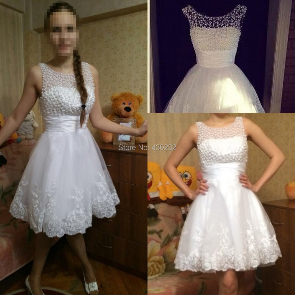New 2016 White Short Wedding Dresses The Brides Sexy Lace Wedding Dress Bridal Gown Plus Size Ivory vestido de noiva Real Sample(China (Mainland))