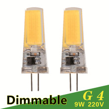 Dimmable LED Lamp G4 G9 AC DC 12V 220V 3W 6W 9W COB LED Bulb Mini G4 G9 360 Beam Angle Replace Halogen Chandelier Lights(China (Mainland))