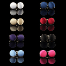 Mens Dress Round Cloth Cufflinks For Busines Shirt Wedding Party Men's cufflink 8 Colors Cloth Round Cufflinks French