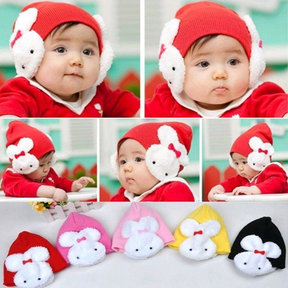Winter Children Girl Rabbit Beanie Hat Double For Keep Ear Warm Kid Boy Cute Cap(China (Mainland))