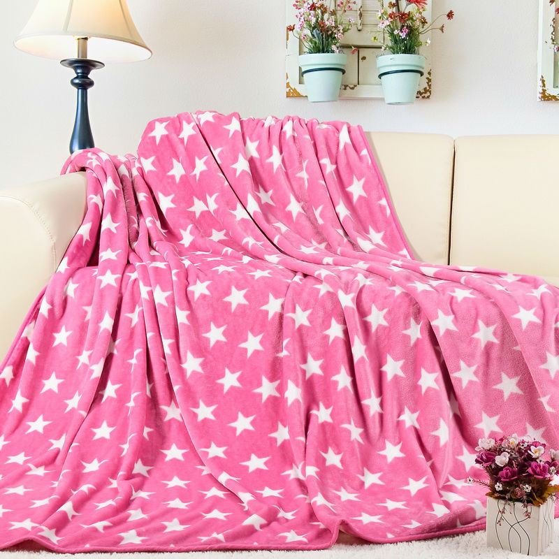 New Hot Flannel Blanket Adult Thick Warm Spring Star Cover Quilt Home Super Soft Single Fleece Brand Blankets On The Bed(China (Mainland))