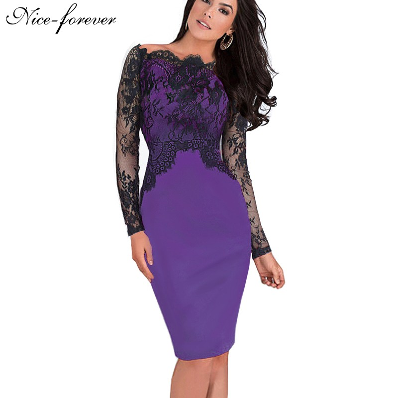 Nice-forever Off-Shoulder Gorgeous Vintage Dress Sexy Slash Neck Lace Top Long Sleeve Zipper Club wear Casual Pencil dress 803(China (Mainland))