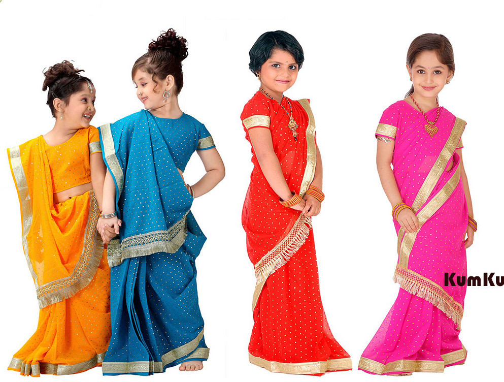 National Indian Clothing Children Sari Dress Classic Georgette Paillette Kids Saree 8Sizes Free Shipping(China (Mainland))